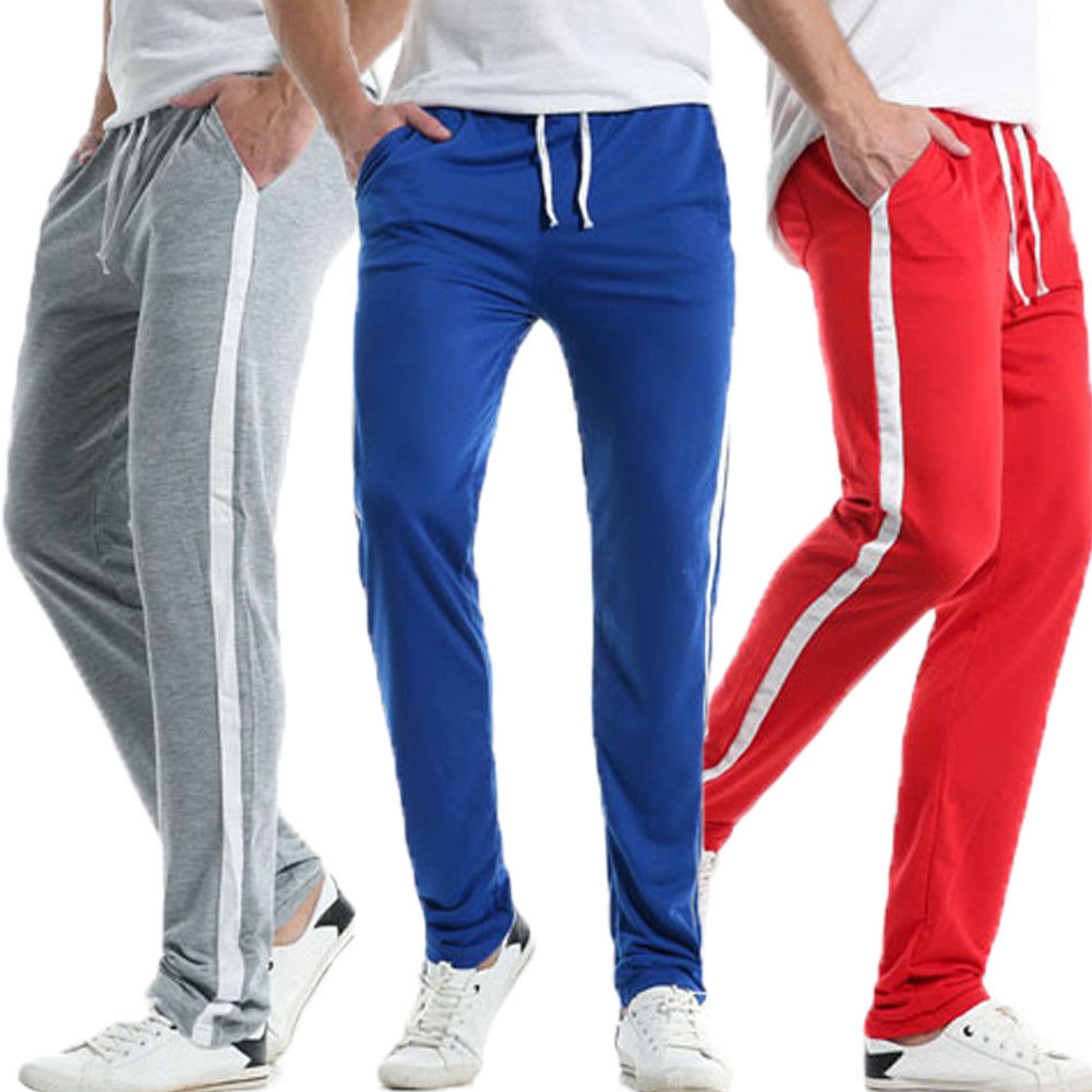 2018 Latest Style Men S Side Stripe Track Pants Skinny Fit