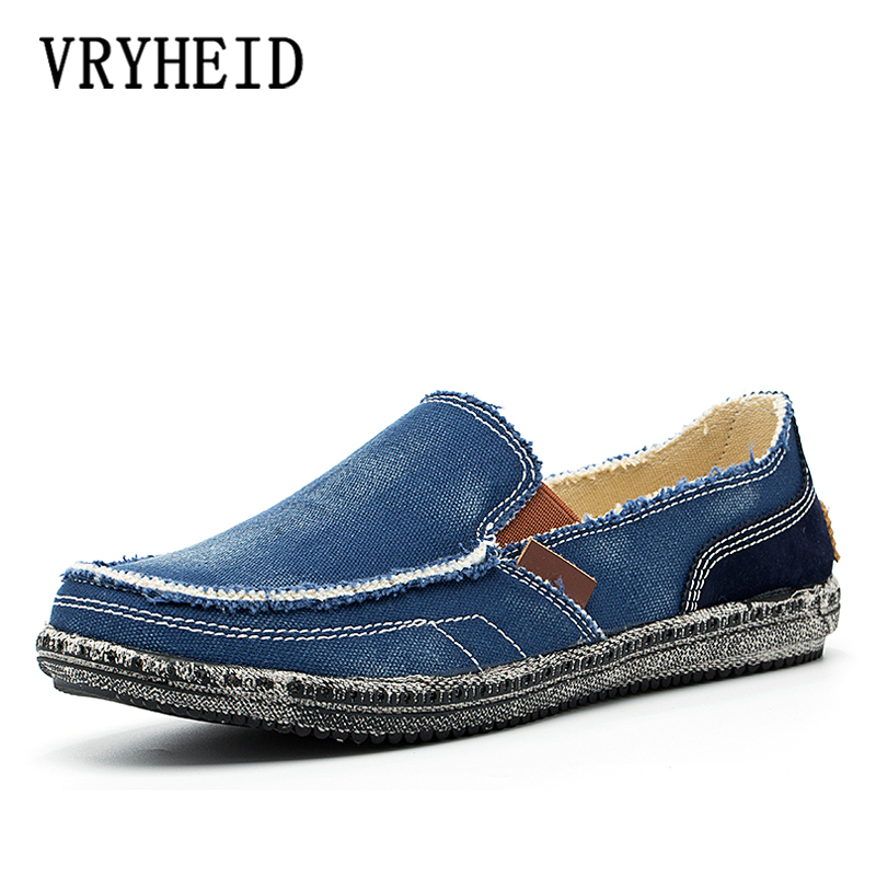 VRYHEID Brand New Spring Mens Breathable High Quality Casual Shoes Jeans Canvas Slip On Fashion Flats Loafers