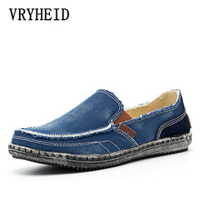 VRYHEID Brand New Spring Mens Breathable High Quality Casual Shoes Jeans Canvas Casual Shoes Slip On Men's Fashion Flats Loafers