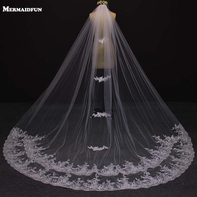 Bride Veils White Applique Tulle  Meters Veu De Noiva Long Wedding Veils Bridal Accessories Lace