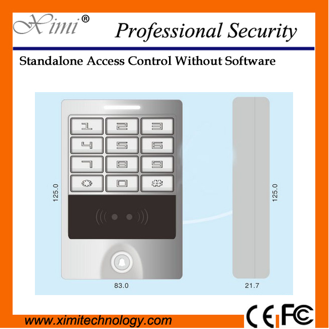 Proximity EM card touch panel waterproof aluminum alloy structure standalone smart card access control system aluminum metal shell waterproof rfid125khz entrance guard system admin card remote control register delete user card