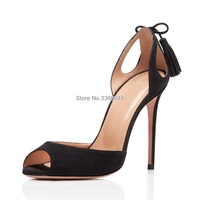 Elegant Ladies Office Black Rosemary Pumps Sexy Hollow Out Fringed Peep Toe Heeled Shoes Slip On Woman Stiletto Tassel Pumps