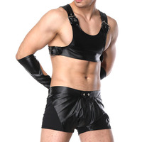 Sexy PU Leather Shorts Sets for Men Night Club wear Lingerie Catsuit With Tops Gloves Gay Bondage Chest Harness Club Dance Wear