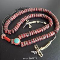 BRO513 Fine Quality Tibet 108 Beads Oiled Red Yak Bone Rosary 12 5 13mm Tibetan Antiqued