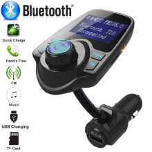 Wireless Bluetooth Car MP3 Player Handsfree Car Kit TF FM Transmitter A2DP 5V 2.1A USB Fast Charge LCD Display Car FM Modulator(China)