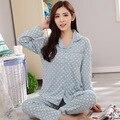 M-3XL Plus Size Outono Inverno Pijamas Adulto Moda Cardigan Camisola Mulheres Polka Dot Pijamas Sleepwear Conjunto