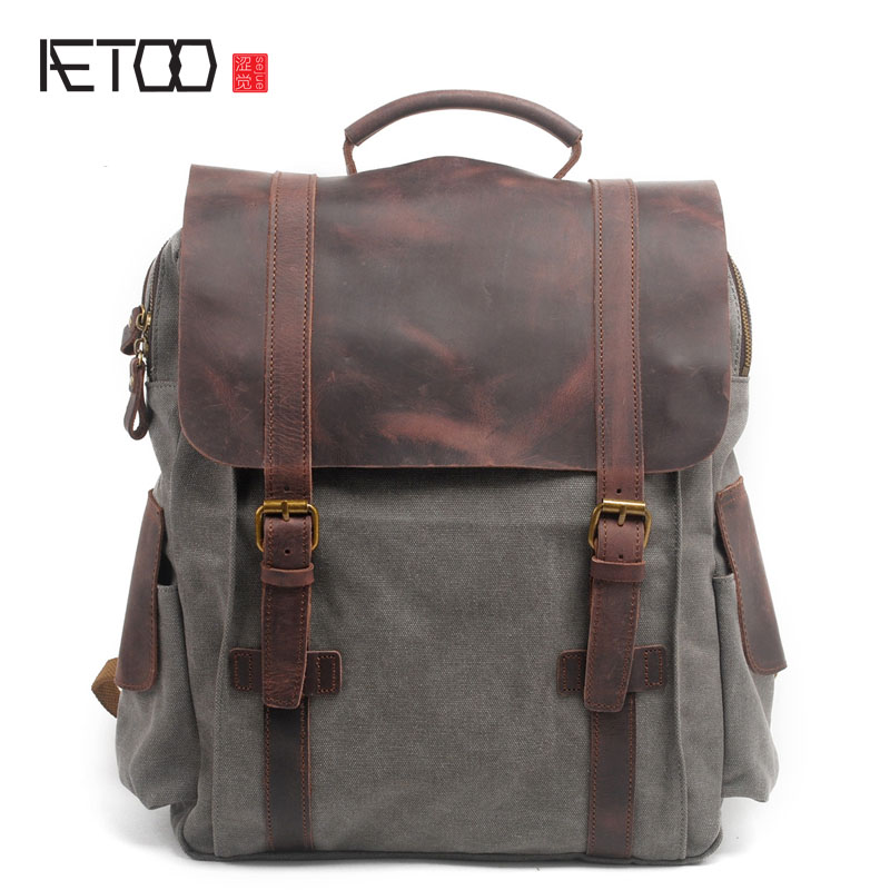AETOO Shoulder bag retro British College Wind backpack canvas bag Korean bag tide bagAETOO Shoulder bag retro British College Wind backpack canvas bag Korean bag tide bag
