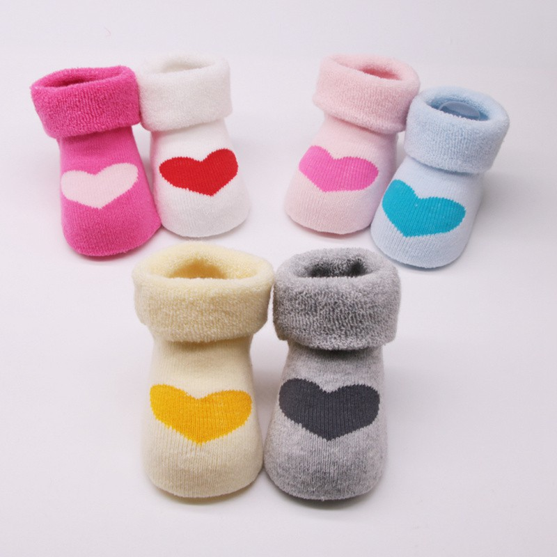 Baby Boys Girls Thickening Cotton Heart Print Cartoon Anti-slip Floor Socks Hot Newborn Winter Autumn Warm Soft Clothes Socks