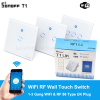 Sonoff T1 UK Plug 86 Type Smart Wall Touch Light Switch Toughened Touch Glass Panel Support WiFi/RF/APP/Touch Control 1/2/3 Gang