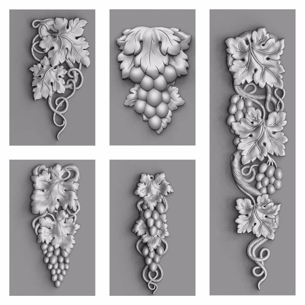 3d STL Model for CNC Router Engraver Carving Machine Relief Artcam Aspire 5Pcs Grape Decor Set CNC files 3d model icona b mater fedorovskaya relief for cnc in stl file format 142mb