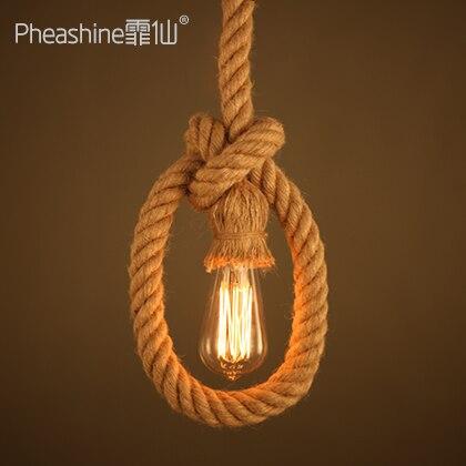 American Village loft rope pendant light for dining room Restaurant Bar Cafe droplight|Pendant Lights| |  - title=