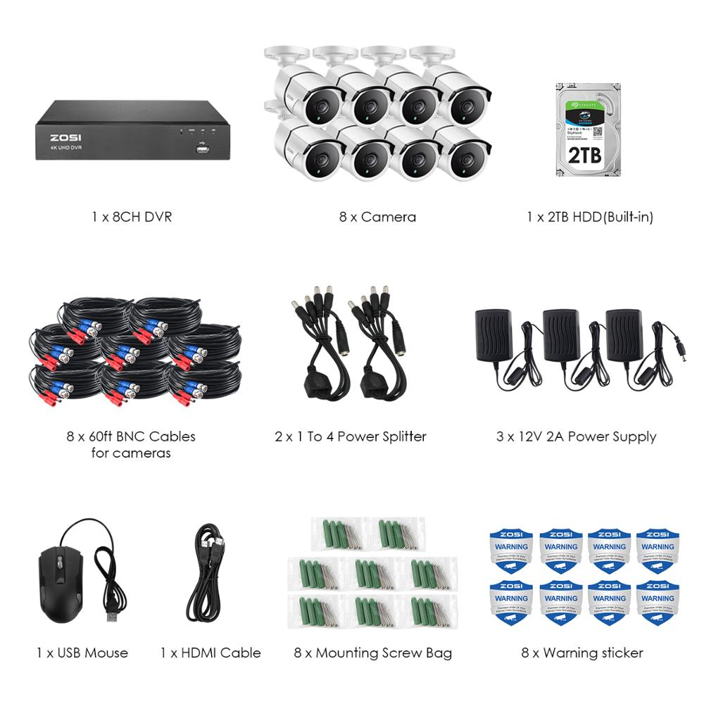 Image 2 - ZOSI 4K 8CH Ultra HD CCTV Camera System H.265+ DVR Kit with 2TB HDD 8PCS 8MP TVI Outdoor Home Video Security Surveillance System-in Surveillance System from Security & Protection