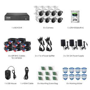 Image 2 - ZOSI 4K 8CH Ultra HD Camera Quan Sát Hệ Thống H.265 + Đầu Ghi Hình Với Bộ 2TB HDD 8 Cái 8MP TVI Ngoài Trời Video Gia Đình An Ninh Hệ Thống Giám Sát