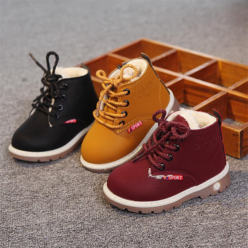 MHYONS Shoes 2019 Winter Girls Boots Boys Plush Children Snow Motorcycle Boots Lace-Up Rome Martin Boots Winter Kids Shoes