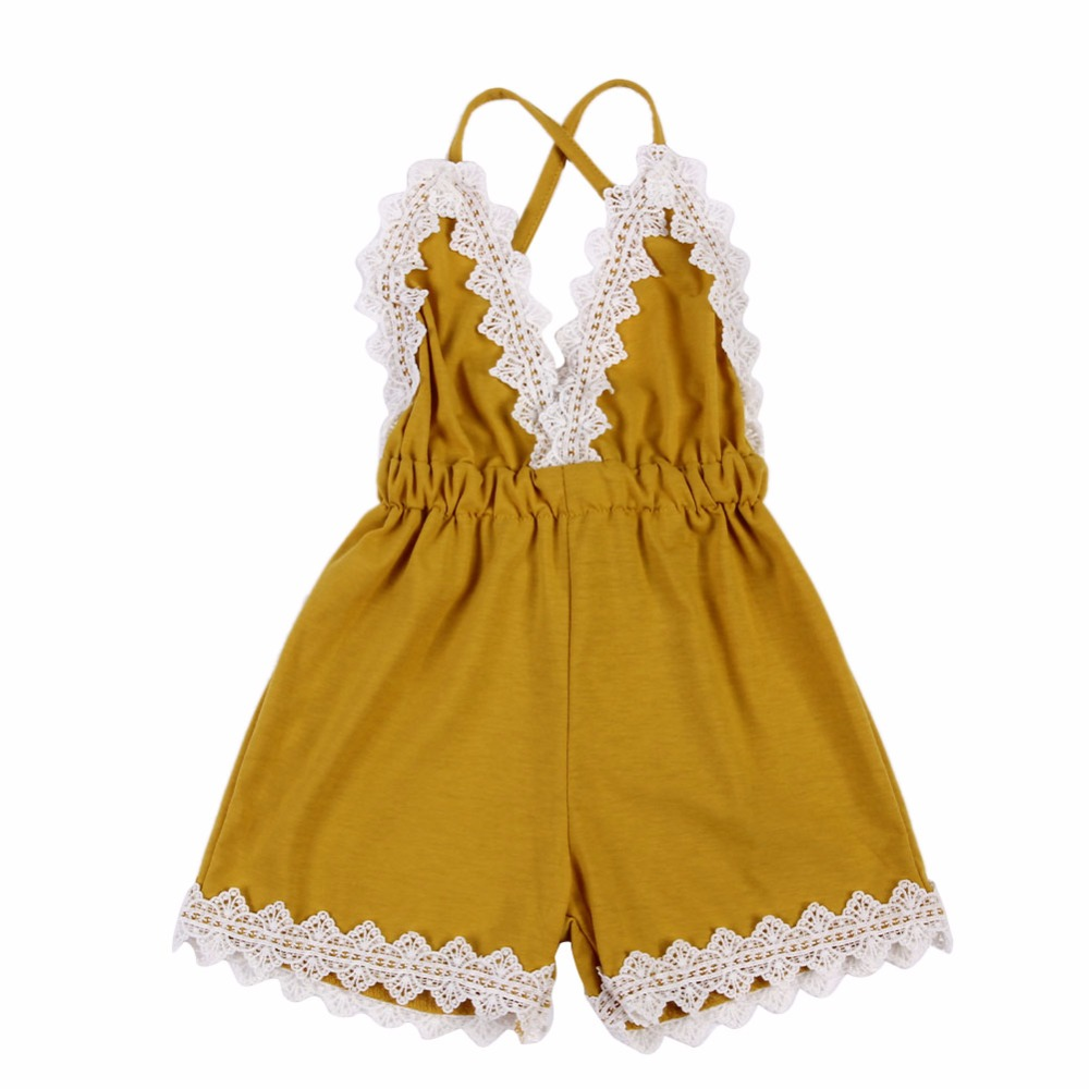 New Fashion Baby Girls Rompers Yellow Casual Infant Lace Decoration Sleeveless Rompers V-Neck Backless One-piece Jumpsuit baby rompers o neck 100