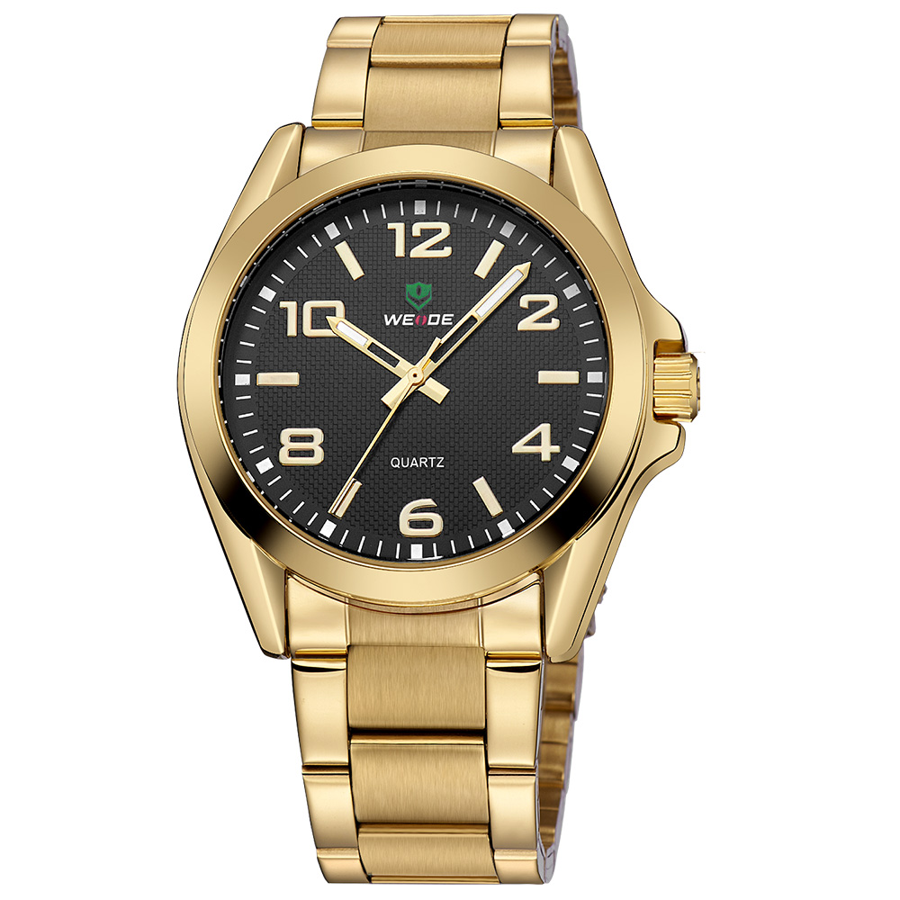 NEW Fashion Casual WEIDE Gold Black Sport Watch Men Quartz Analog Stainless Steel Band Watch Water Resistant Wristwatch Relogios