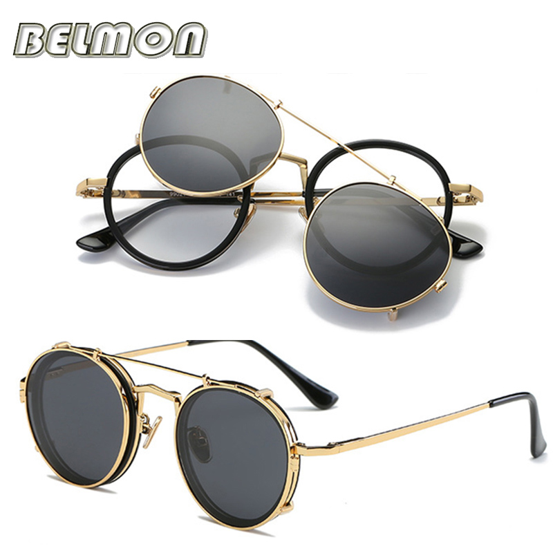 Image 4 - Steampunk Googles Eyeglasses Spectacle Frame Men Women With Polarized Clip On Sungllasses For Female Male Vintage Glasses RS170frames menspectacle frame manspectacle frame -