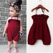 Casual Brief Sleeveless Summer  Cotton Toddler Kid Baby Girls Bodysuit Jumpsuit Outfits Sunsuit Clothes