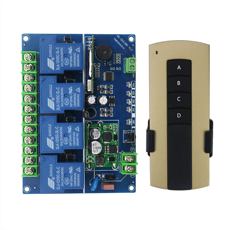 DC12V 24V 36V 48V 4CH 30A RF Wireless Remote Control Relay Switch Security System Garage Doors, Electric Doors/window /lamp 4ch rf wireless remote control relay switch security system1receiver