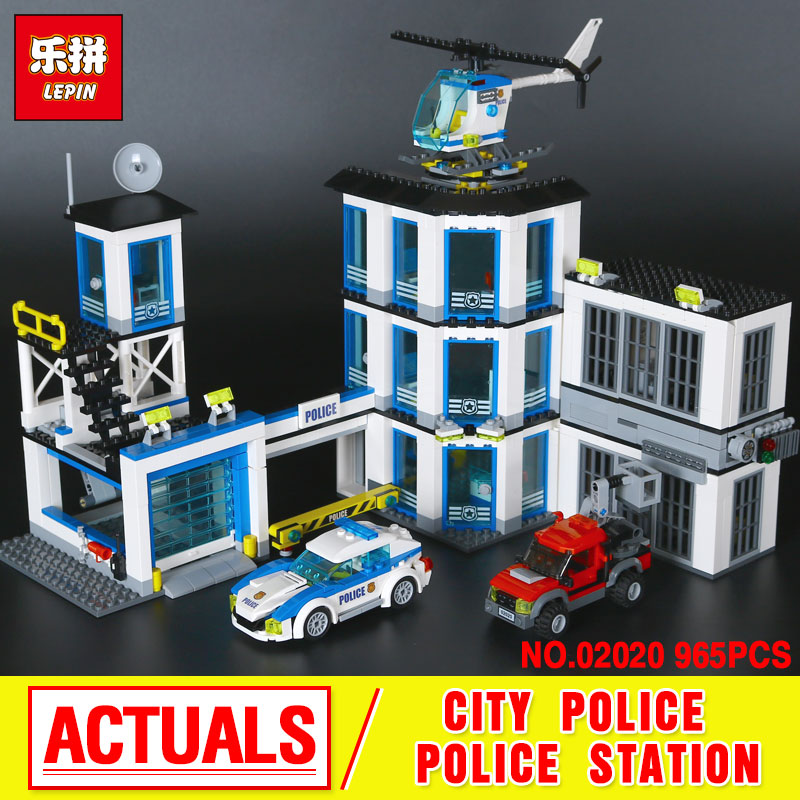Lepin 02020 965Pcs City Series The New Police Station Set children Educational Building Blocks Bricks Boy Toys Model Gift 60141 6727 city street police station car truck building blocks bricks educational toys for children gift christmas legoings 511pcs