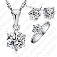 JEXXI Woman S Birthday Gift Wedding Jewelry Set Fashion 925 Sterling Silver Crystal Necklace Ring Earring