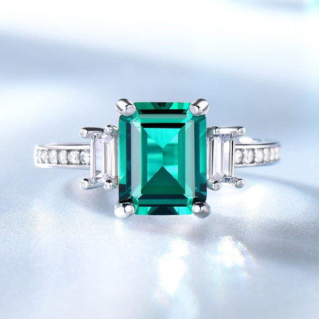 Green Emerald 925 Sterling Silver Ring 1