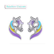 Fashion Personality Cartoon Unicorn Long Earrings Wild Lady Accessories Colorful Long-haired unicorn earrings Jewelry