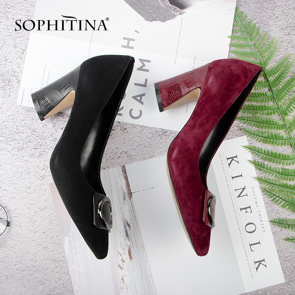 SOPHITINA High-quality Wearable Kid Suede Solid Concise Pumps for Lady Square Heel Elegant Metal Decoration Mature Shoes MC131SOPHITINA High-quality Wearable Kid Suede Solid Concise Pumps for Lady Square Heel Elegant Metal Decoration Mature Shoes MC131