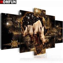 HOMFUN 5pcs Full Square/Round Drill 5D DIY Diamond Painting rhinocero Multi-picture Combination Embroidery Decor A14837