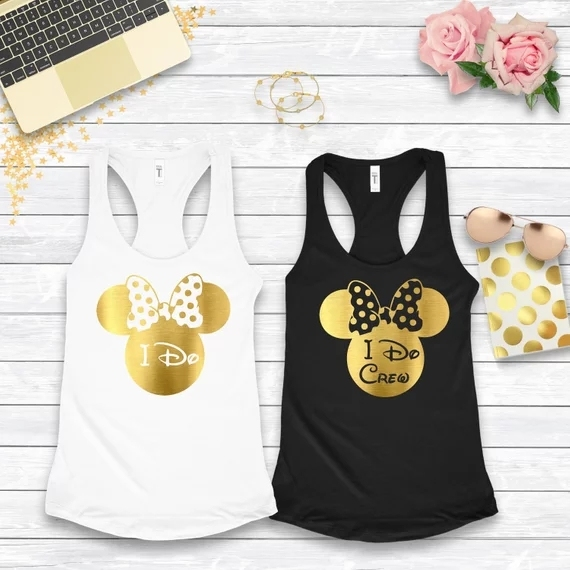 customized gold i do crew wedding Bachelorette Bridesmaids Tank tops tees  bridal shower t Shirts singlets Party gifts 629e114d7a49