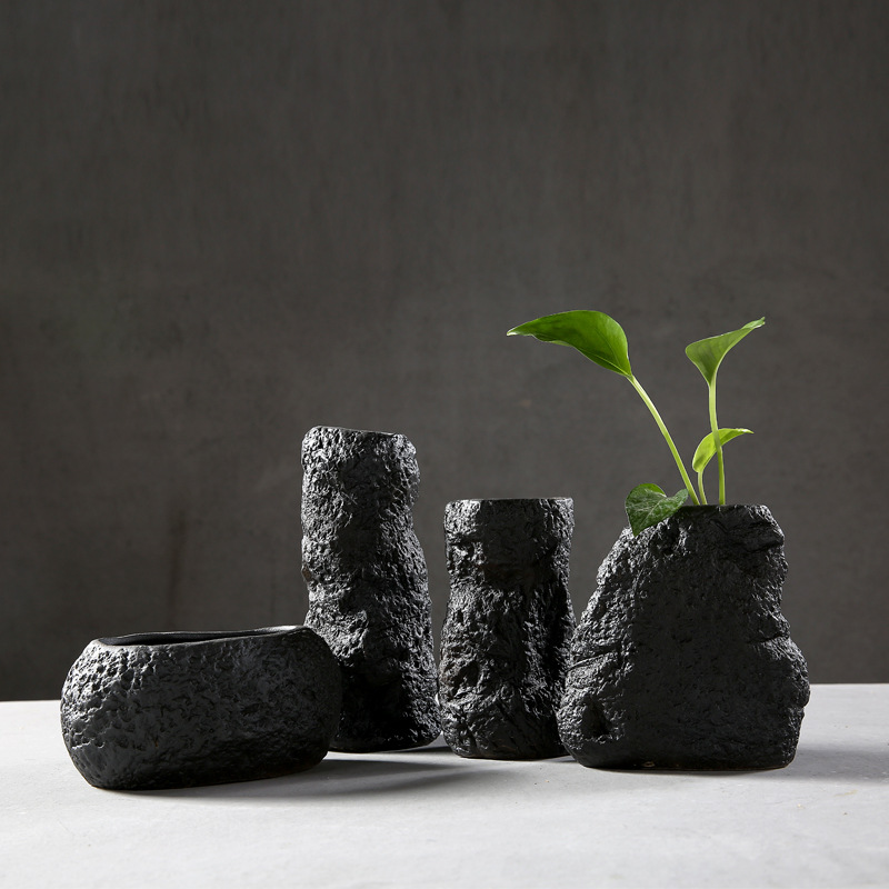 Household accessories ceramics black vase coarse pottery ancient manual flower arrangement water culture pottery Plant basin