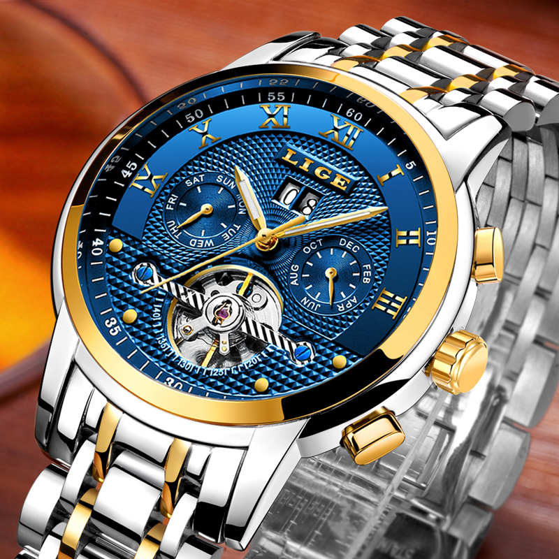 LIGE Men Watches Top Brand Luxury Automatic Mechanical Watch Men Full Steel Business Waterproof Sport Watches Relogio Masculino lige top brand luxury men watches mechanical automatic watch men full steel business waterproof sport watch relogio masculino