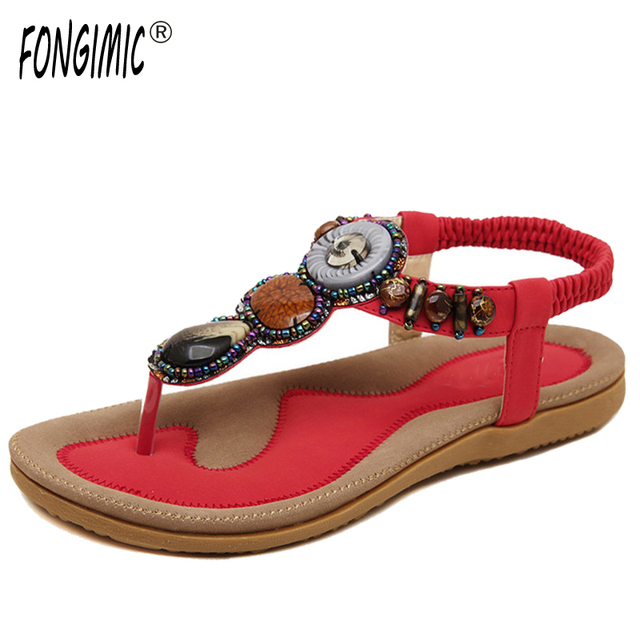 FONGIMIC Summer Women Sandals Comfortable Breathable Sandals Women Hot Sell  Cross Belt Flat With Shoes Bohemia Large Size c2d323303808