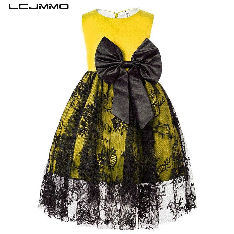 LCJMMO Çiçek Dantel Kız Elbise Papyon Sarı Düğün Pageant 2018 Yaz Prenses Parti Elbise Çocuk Giyim Boyutu 1-5Years