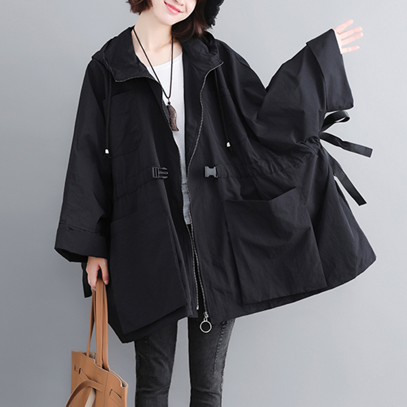 2019 Women's   Trench   Coat Spring Autumn Windbreaker Female New Large Size 200 Pounds Loose Casual Hooded Outerwear Overcoat LP104