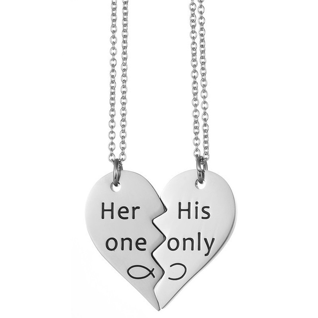c2019b0550 Stainless Steel Matching Her One His Only Engraved Pendant Heart Puzzle  Necklace Gifts for Couples