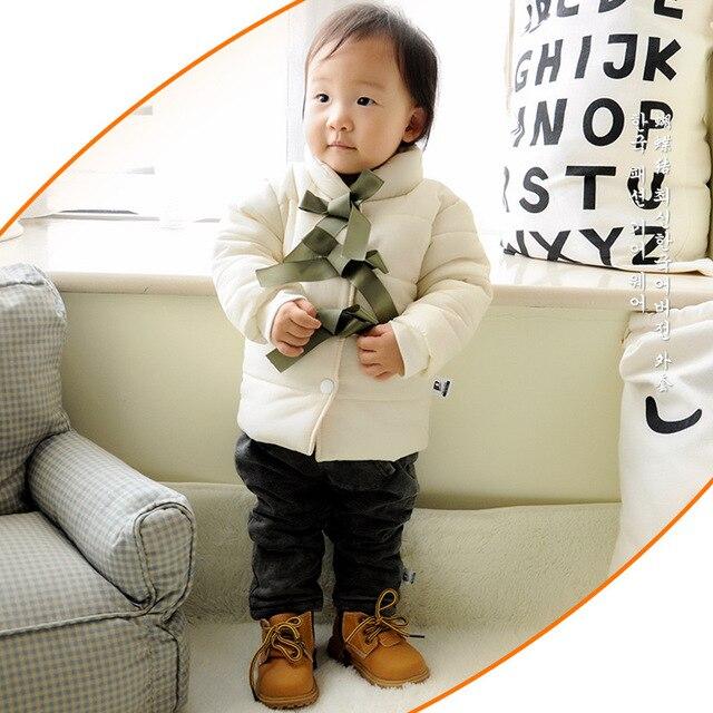 Winter Thickening Newborn Baby Snowsuit Round Collar Beige Butterfly Cotton Coat Warm clothes Kids Girl Jackets Outerwear 0-24m