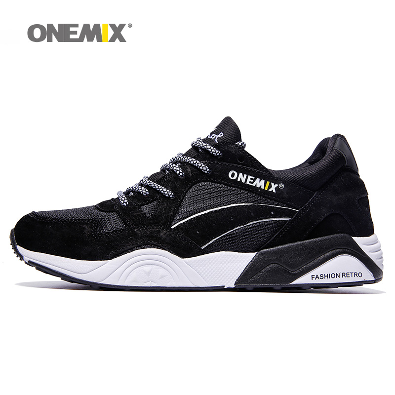 ФОТО Free Shipping Man Running Shoes For Men Nice Retro Run Athletic Trainers Black White Zapatillas Sports Shoe Walking Sneakers
