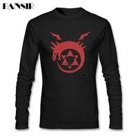 Awesome Tee Shirts Men Anime Fullmetal Alchemist Logo O Neck Long Sleeve Cotton Men T Shirt