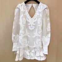 White Mini Dress Women Summer Elegant V neck Long Sleeve Backless Dress 2019 Fashion Women Cotton Dress High Quality