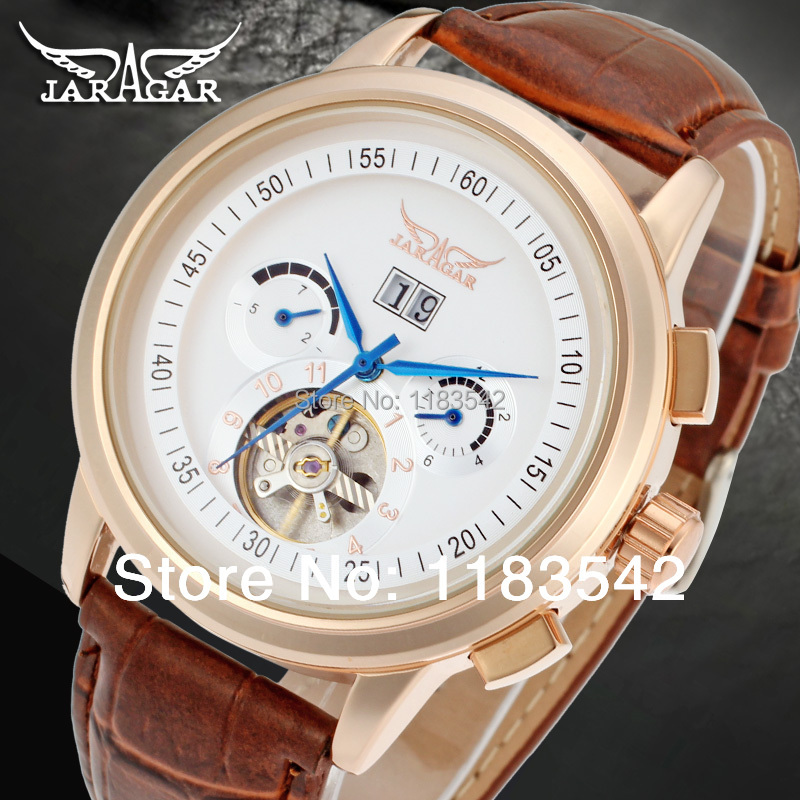 Jargar  Automatic rose gold color men wristwatch tourbillon brown leather strap free shipping JAG16557M3R2 матвеева елена александровна швеция