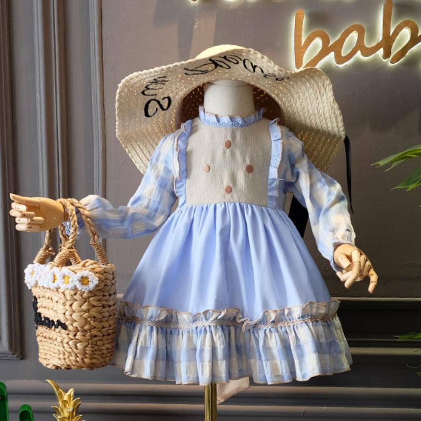 2 pièces espagnol Court Style printemps automne enfants robe pour filles fête d'anniversaire bleu princesse robe enfants vêtements Vestidos Y1315