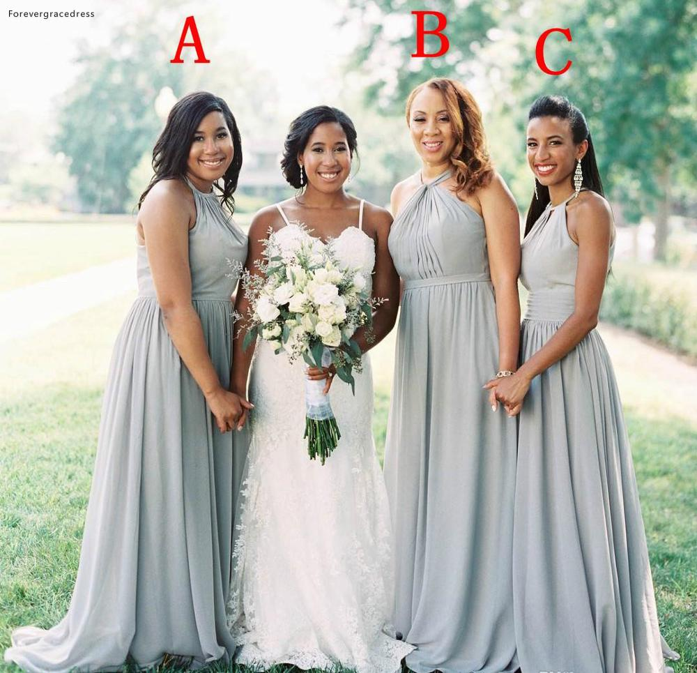 Bohemian Bridesmaid Dresses Cheap Chiffon Western Summer Country Garden Formal Wedding Party Guest Maid of Honor Gowns Plus Size