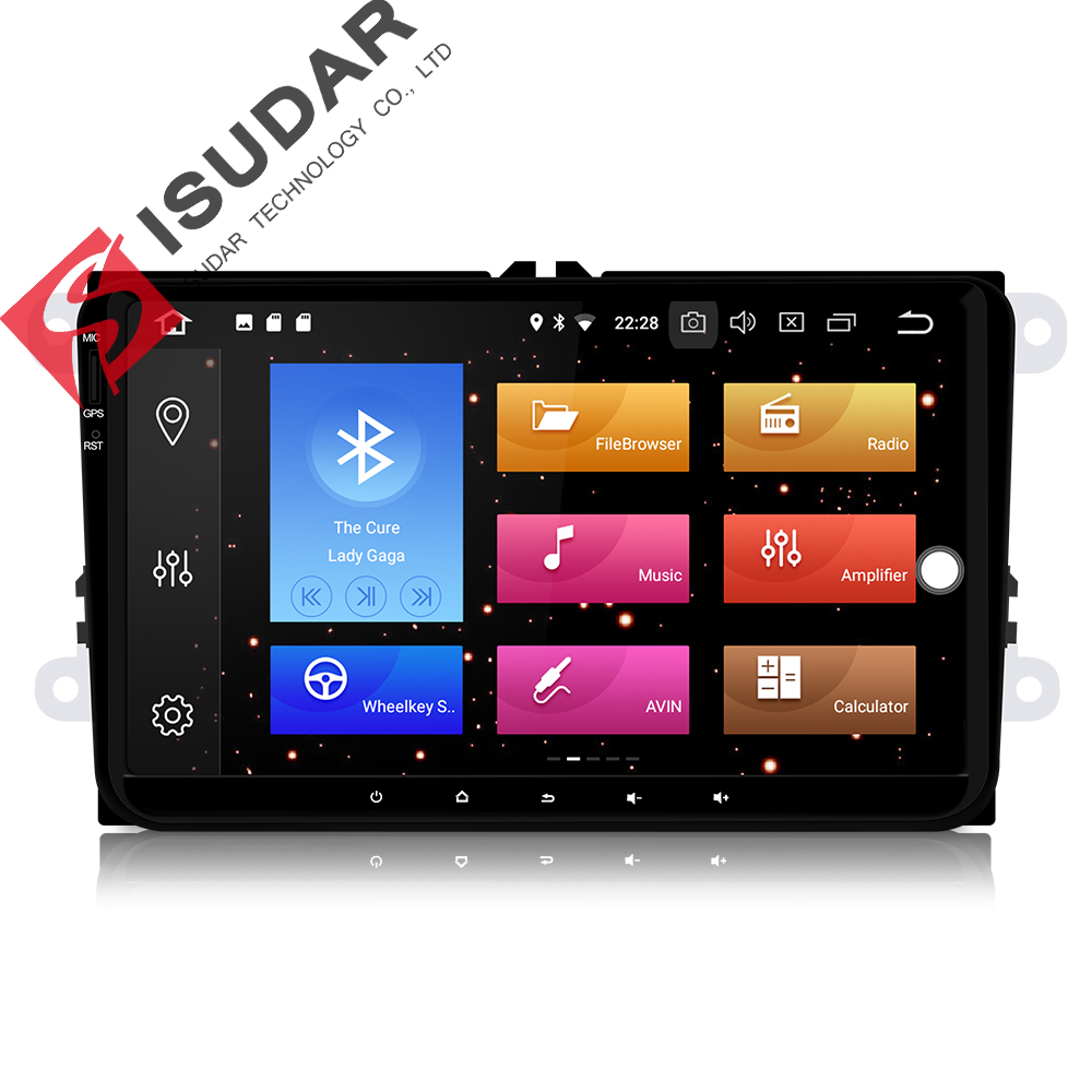 Isudar Car Multimedia Player GPS Android 8 0 For VW Golf Tiguan Skoda Fabia Rapid Seat