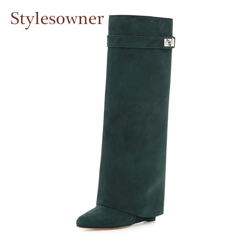 99b5e8f8ce4 Stylesowner fashion street snap women shark lock genuine leather knee high  boots wedge heel pointed buckle