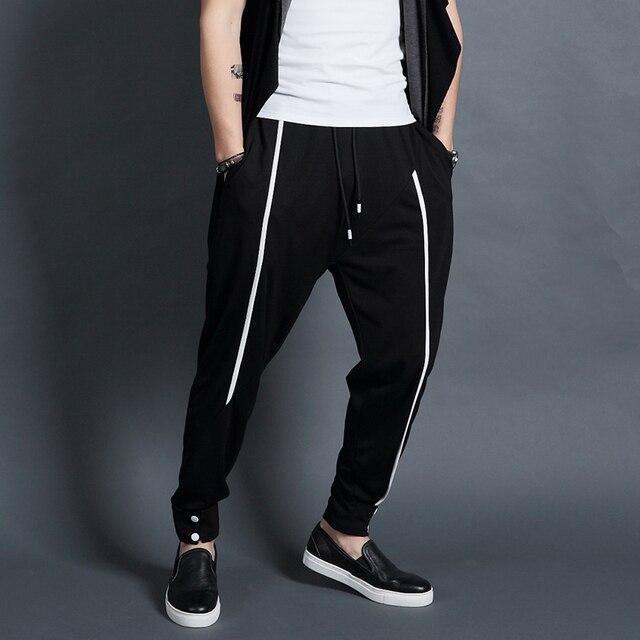 Оригинальные аутентичные Корейских повседневные брюки мужчины гарем стрейч свободные брюки ноги спортивные штаны.