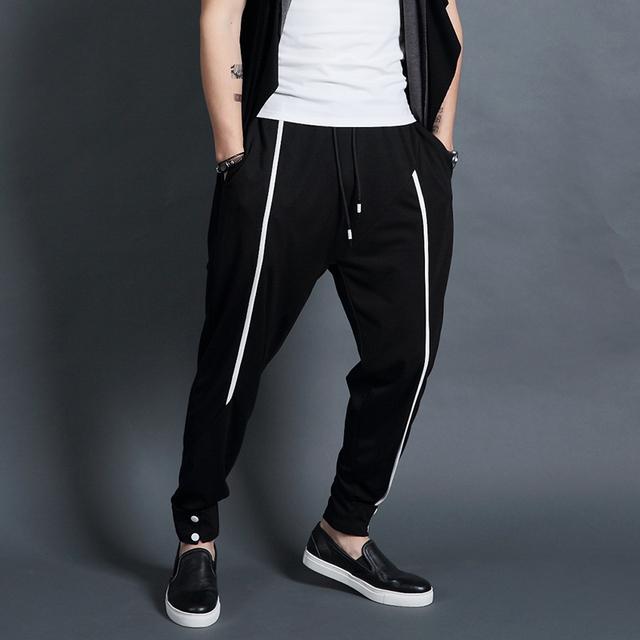Original autêntica Coreano calça casual homens harem calças stretch calças soltas pés suor.