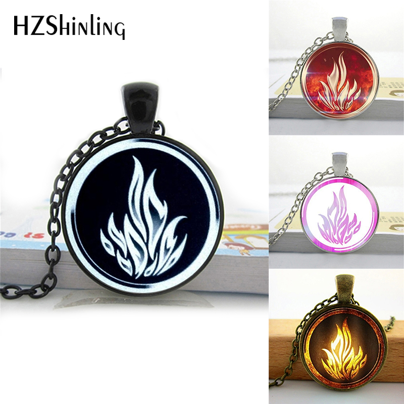HZShinling Dauntless Sign Of Divergent Necklace Round Glass Pendant Jewelry Glass Photo Pendant Necklace Sliver Color HZ1