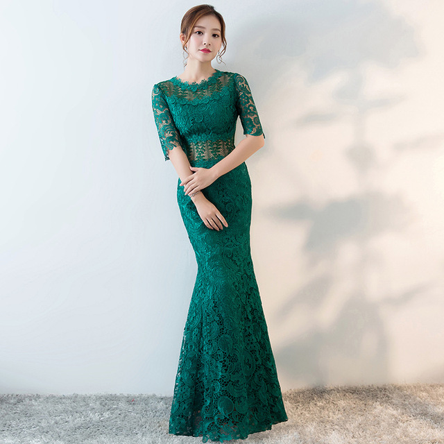 Modern Chinese Wedding Gowns Traditional Qipao Green Lace Cheongsam ...