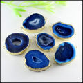 5pcs Gold Tone Blue Quartz Nature Druzy Geode Agate Slice gem stone Drusy Connector Pendant Beads for Bracelet Jewelry findings